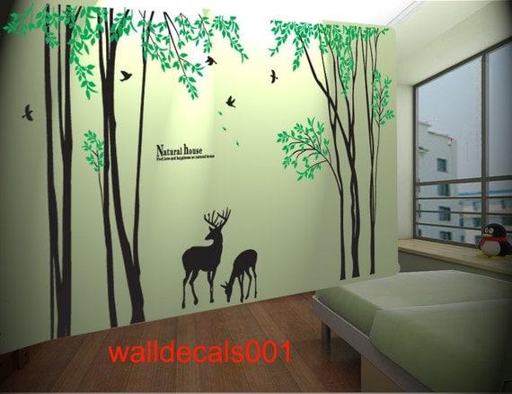 Vinyl tree wall decal wall sticker birds decal deer decal for Deer mural decal