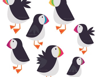 Rainbow Puffin Digital Clipart - Personal and Commercial Use - Clip Art for Cards, Scrapbooking and Paper Crafts