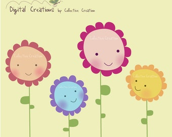 Happy Flowers Digital Clipart - Personal and Commercial Use - Clip Art for Cards, Scrapbooking and Paper Crafts