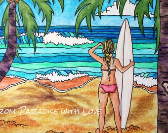 Surfer Girl on Beach - Hawaii Surf Art - Ocean and Palm Trees - Bright, Bold Colors