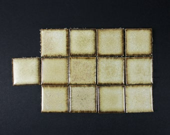 Bakers Dozen of Cream Tiles with Brown Edges
