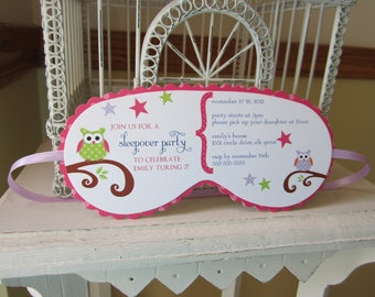 Sleeping Mask Invitation Custom Die Cut - Perfect for Sleepover  Birthday, Beauty or  Spa Themed, or Glam Camp  Parties