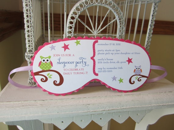 Sleeping mask invitation custom die cut by beautifullyinviting for Spa mask invitation template