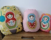 Russian Nesting Dolls, Matryoshka Set of Three Decorative Plush