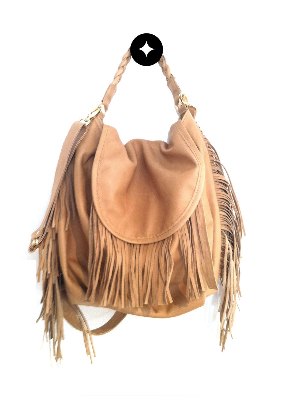 Leather Hobo Bag Brown Fringe Bag For Spring