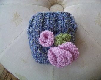 Knit Diaper Cover with two Pink Rosettes