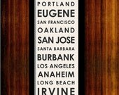 "West Coast Typographic Bus Roll - Subway Sign Art Print 12"" x 36"""