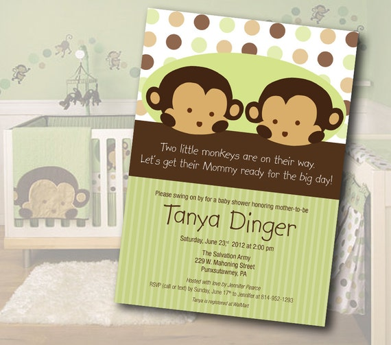 Twin monkey baby shower invitation by sassy party designs catch my il570xn filmwisefo