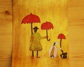 """9 X 15 Original Mixed Media """"We're In this Together""""  Dog, Cat, Girl, Umbrellas, Whimsical, Painting. Collage"""