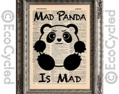 Mad Panda is Mad on Vintage Upcycled Dictionary Art Print Book Art Print Emotional Pandas