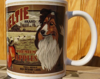 Shetland Sheepdog Crate Label Coffee Mug