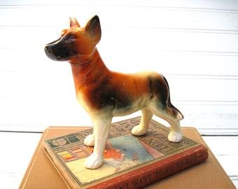 German Shepherd figurine ceramic vintage