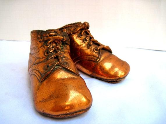 Copper Baby Shoes Bronzed Antique Nursery Decor