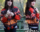 Vintage 90's Ethnic Print Tribal Bomber Jacket Coat S M