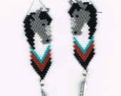 Hand Beaded  Grey Horse Head  with silver plated feather earrings