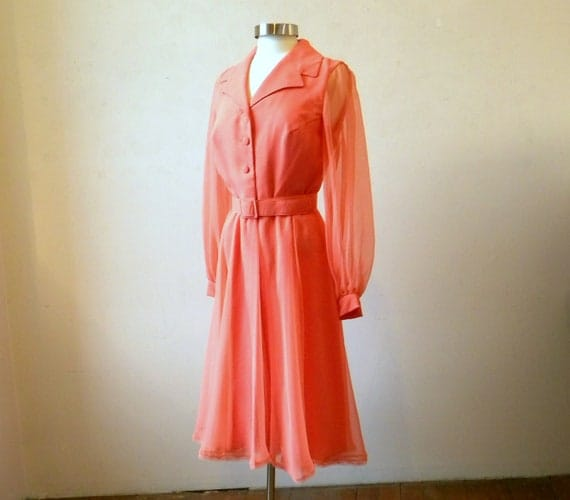 Dancing Queen 70s Chiffon Party or Day Dress / Orange Peach / Secretary Fitted L
