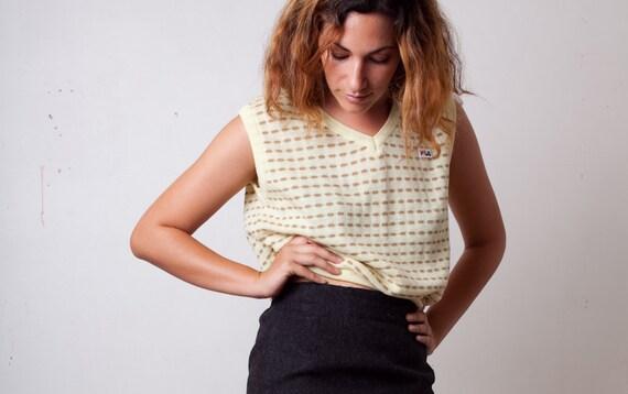 Cyber Sale, 1970s FILA Tennis Sport Top, Italy Italian Tennis Shirt, Yellow Tan Stripe Knit V-Neck Vest Tank Sleeveless Size Medium