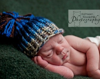 Baby Boy Hat Newborn - Knitted with Pom Pom Blue, Grey and Brown Prop.