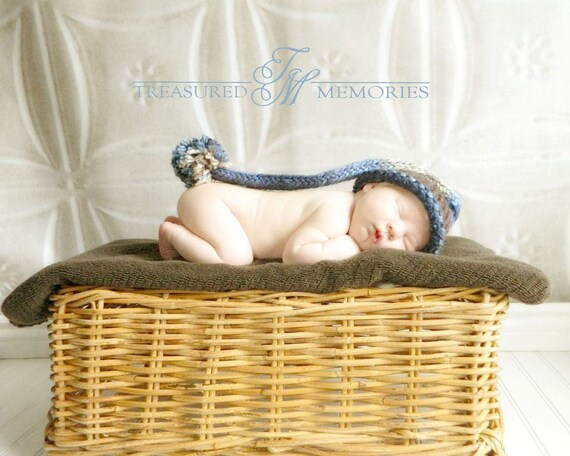 Baby Boy Hat Newborn - Elf Knitted with Pom Pom blue, gray and brown Prop.