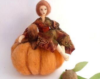 Art cloth doll needle felted Halloween pumpkin soft sculpture Thanksgiving Autumn Harvest Halloween home decor