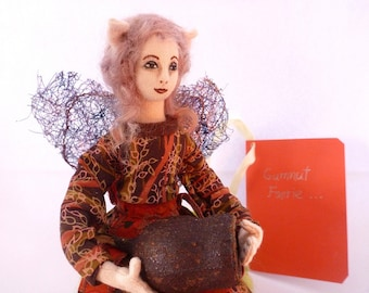 Fairy doll cloth art miniature soft sculpture autumn woodland Gumnut Faerie
