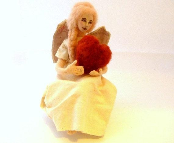 Art doll cloth Guardian angel Christmas doll needlefelt heart soft sculpture