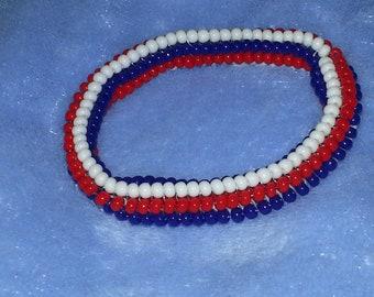 Red, White, and Blue Beaded Bracelet