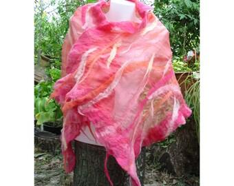 Nuno Felt Scarf,Woman Pink Scarf,Woman Shawl,AU Wool Shawl,European Art Deco,Nuno Felt Skarf,Felt Scarf,Handmade