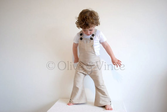 SALE Overalls organic cream LAST PAIR boys girls flared dungarees retro style clothing soft cotton denim formal wedding gift vintage style