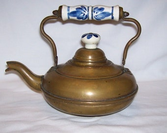 Brass Teapot with blue and white ceramic handle