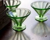 Set of 6 Uranium Glass Ice Cream Cups