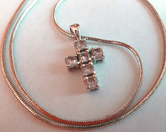 Petite Pink Rhinestone Silver Cross Pendant & Neck Chain Vintage Cross Necklace