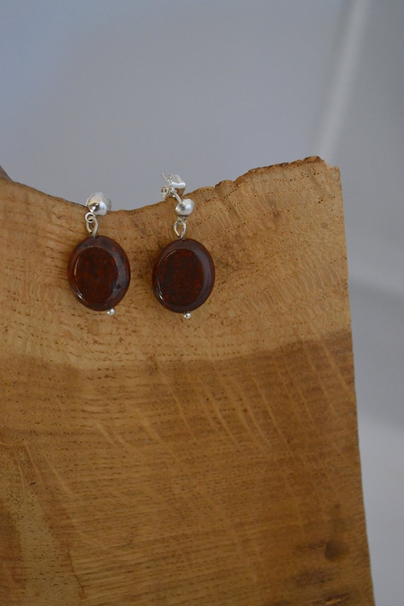 Simple Red Poppy Jasper Earrings - Cancer Charity