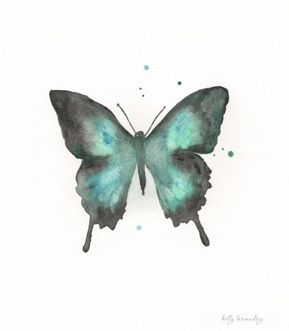 Butterfly/blue, green, teal, black  Watercolor Print
