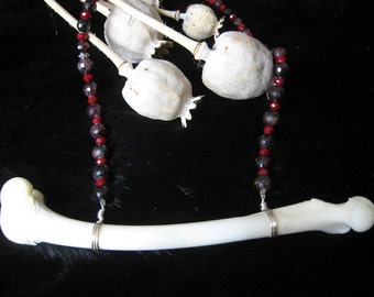 Real Coyote Leg Bone Blood Red Statement Necklace