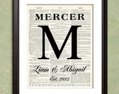 MONOGRAM Print 2 Initial Dictionary Art Print Poster Enlargement 10x13 or 11x14 or 12x15 Wedding Anniversary Gift Home Decor Wall Decor
