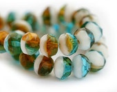 12pc Gemstone cut rondel beads, Mixed color, Teal, White, Topaz, fire polished czech glass, rondelle - 0968