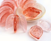 Czech glass leaf beads mix, Pink leaves, peach - flat, big size, pressed leaf - 18mm -6Pc - 425S