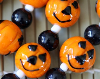 Halloween Jack O Lantern Pumpkin Lampwork Glass Beads(Pack of 12 beads)L01012