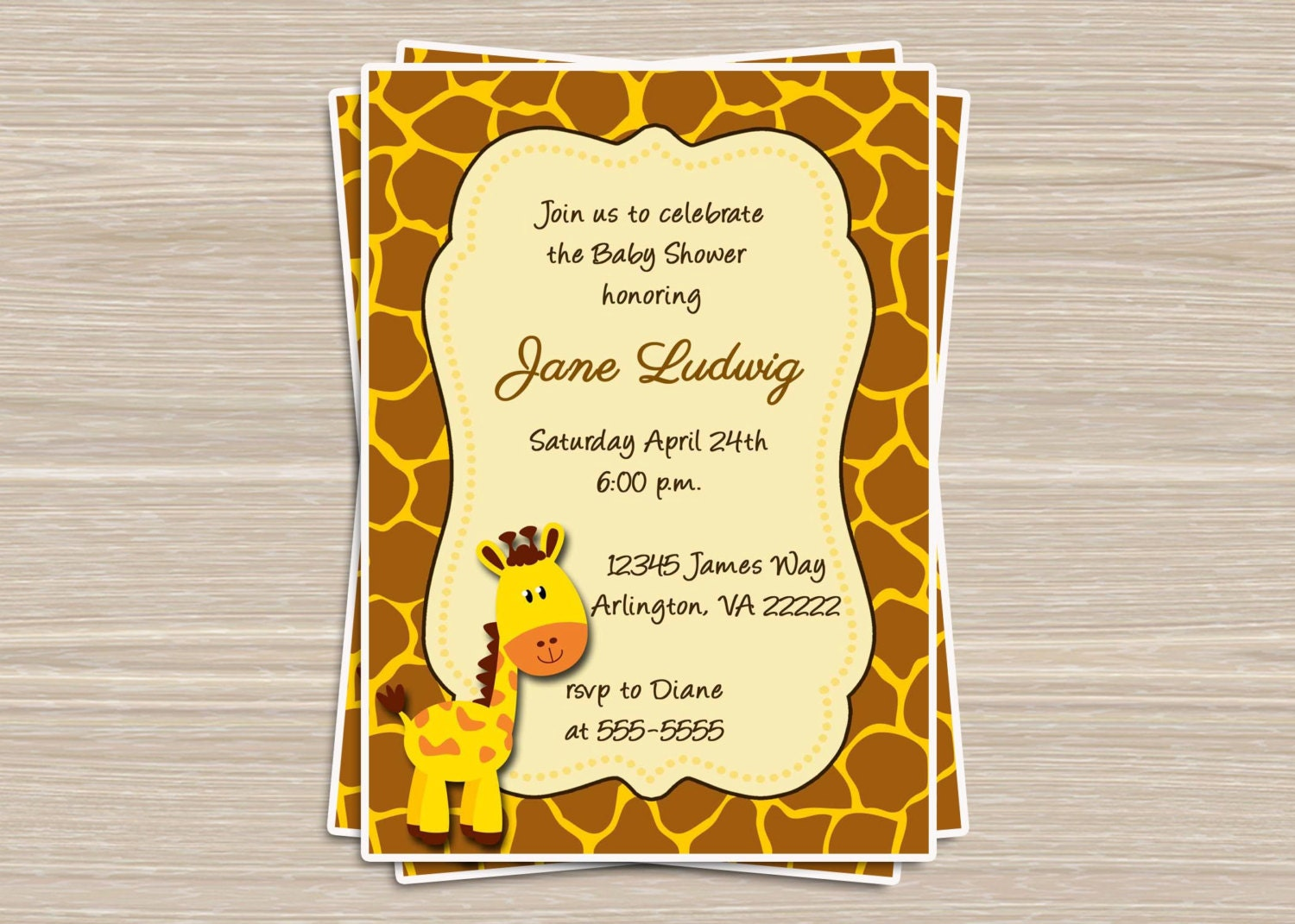 baby shower giraffe invitation u print by ptycards on etsy