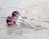 SALE Purple Ombre Earrings: Plum, Mauve, and Crystal Clear Czech Glass Beads with Sterling Silver
