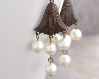 Pearl Chandelier Earrings: Romantic Jewelry with Cream Swarovski Elements and Antiqued Brass Petals