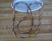"""Vintage Sterling Silver Necklace Tri-Color Braided and Diamond Cut 30"""" Long"""