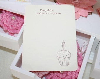 Vintage Inspired Keep Calm and Eat A Cupcake Notecards