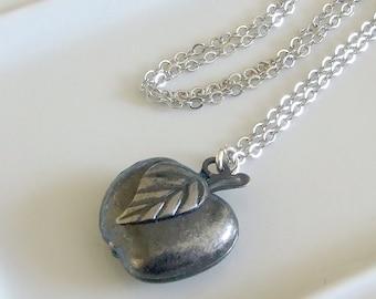 Silver Apple Locket  .. keepsake jewellery, vintage style locket, fruit