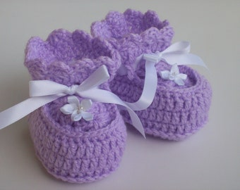 Crochet Purple Baby Doll Booties with White Flowers and White Satin Ribbon