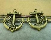 10 pcs 20x24mm Antique Bronze Brass 3D Ship Anchors Charms Pendants a03tg13019FC92734
