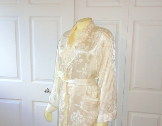 Vintage Dressing Gown Robe Victoria's Secret Ivory Jacquard Satin Bridal Wedding Lingerie Modern M - L