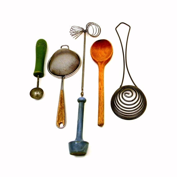 Items Similar To Primitive Cooking Utensils, Set Of 5