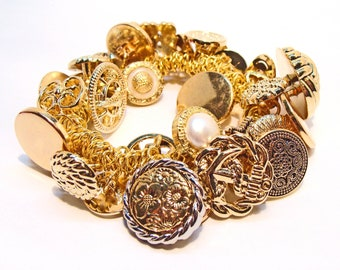 Gold Button Extravaganza Stretchy Charm Bracelet